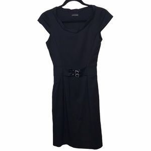 Emporio Armani Black Wool Belted Dress